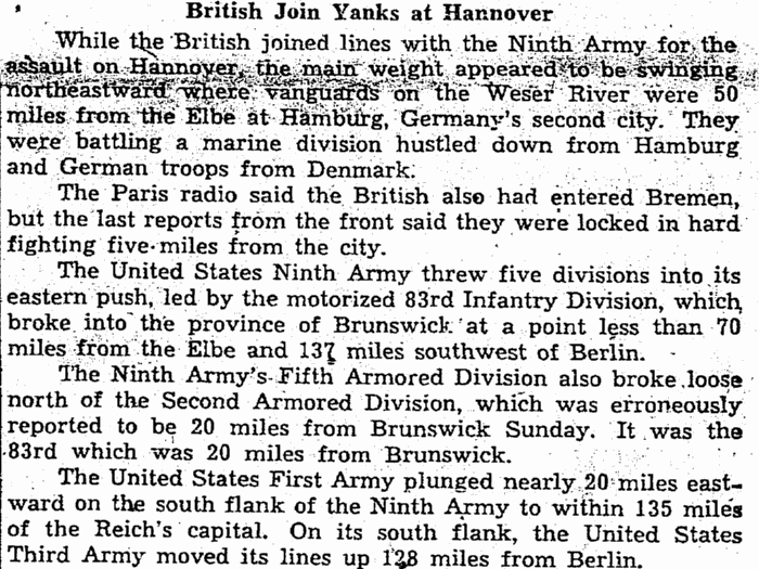 article about the movements of the 83rd Infantry Division in WWII, Plain Dealer newspaper article 10 April 1945