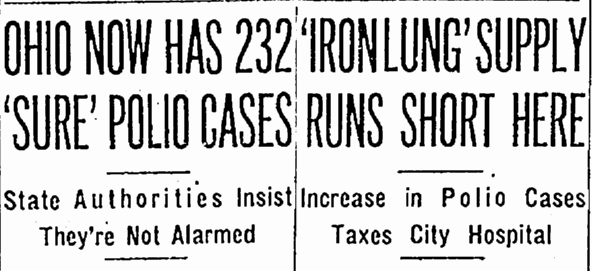 articles about the polio outbreak in Ohio and especially Cleveland, Plain Dealer newspaper articles 19 July 1952