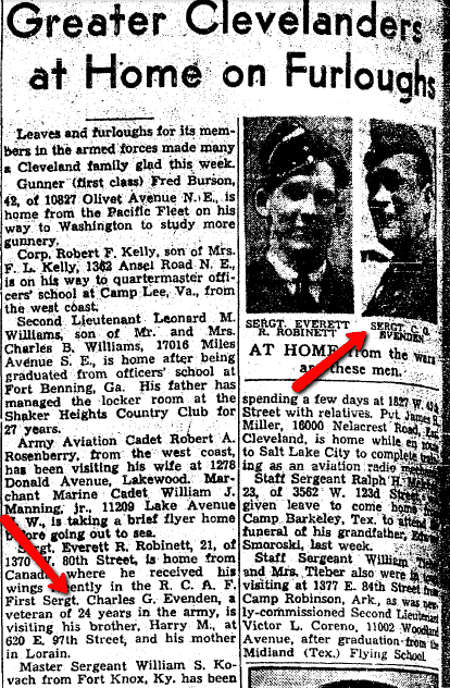 Greater Clevelanders at Home on Furloughs from WWII, Plain Dealer newspaper article 16 August 1942