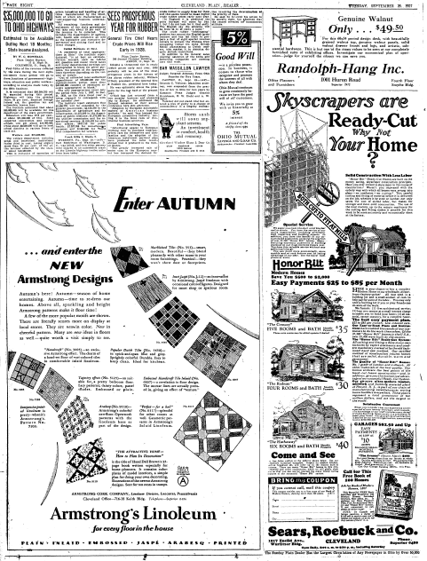 ad for prefabricated homes from Sears, Roebuck and Co., Plain Dealer newspaper advertisement 20 September 1927