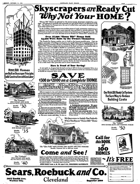 full-page ad for prefabricated homes from Sears, Roebuck and Co., Plain Dealer newspaper advertisement 31 October 1926