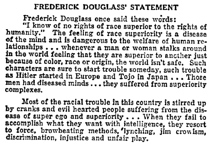 Frederick Douglass' Statement, Plaindealer newspaper article 11 July 1952