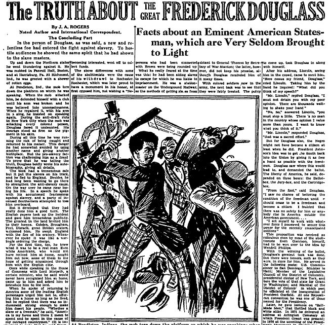 The Truth about the Great Frederick Douglass, Plaindealer newspaper article 30 August 1930