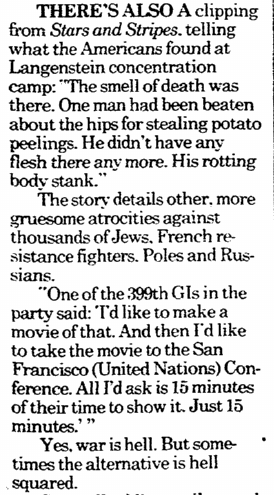 article about the liberation of the Langenstein Concentration Camp during WWII, Register Star newspaper article 29 May 1994