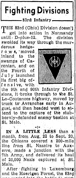 WWII Fighting Divisions: 83rd Infantry, Repository newspaper article 19 November 1945