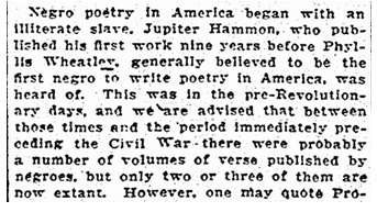 article about Jupiter Hammon, Richmond Times Dispatch newspaper article 24 April 1924