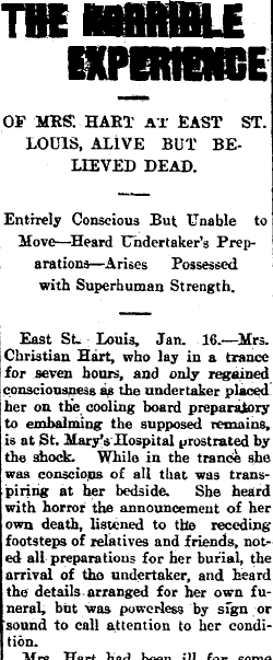 The Horrible Experience of Mrs. Hart at East St. Louis, Alive but Believed Dead, Rockford Republic newspaper article 17 January 1900