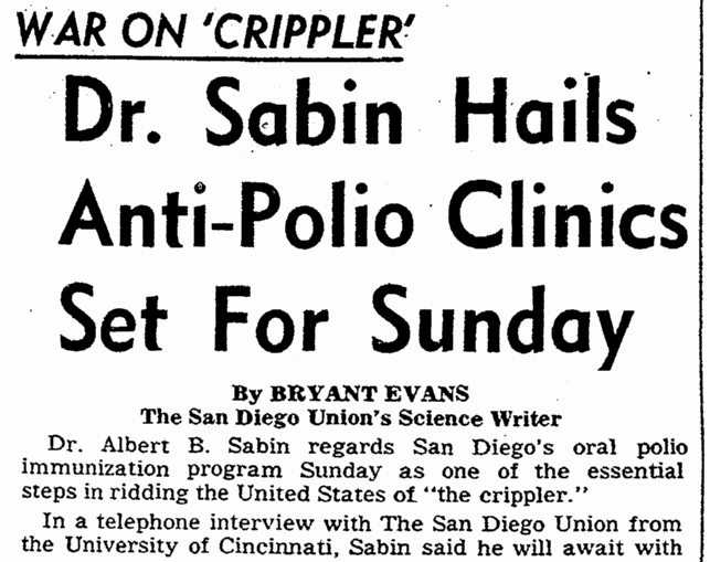 Dr. Sabin Hails Anti-Polio Clinics Set for Sunday, San Diego Union newspaper article 18 October 1962