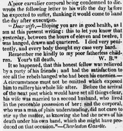 letter written by a condemned soldier in 1823, Sentinel and Witness newspaper article 16 April 1823