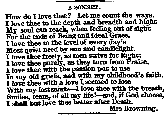 sonnet by Elizabeth Barrett Browning, Springfield Republican newspaper article 16 July 1874