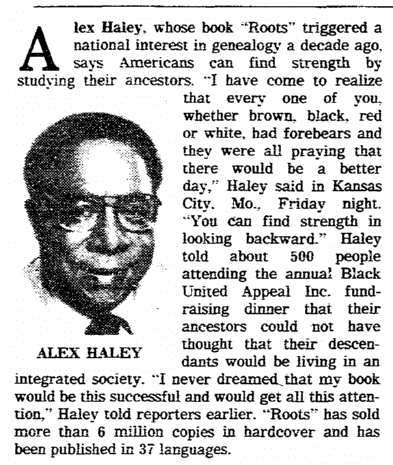 "article about Alex Haley and his novel ""Roots"" spurring interest in genealogy, Springfield Union newspaper article 13 October 1986"