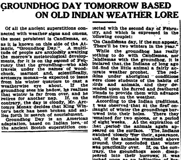 Groundhog Day Tomorrow Based on Old Indian Weather Lore, Trenton Evening Times newspaper article 1 February 1916