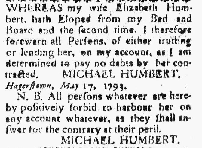 ad from Michael Humbert warning he will not pay the debts of his runaway wife, Washington Spy newspaper advertisement 31 May 1793