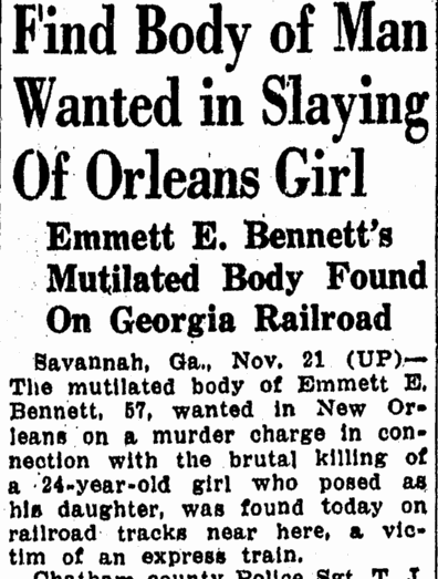 Find Body of Man (Emmett Bennett) Wanted in Slaying of Orleans Girl, Advocate newspaper article 22 November 1946
