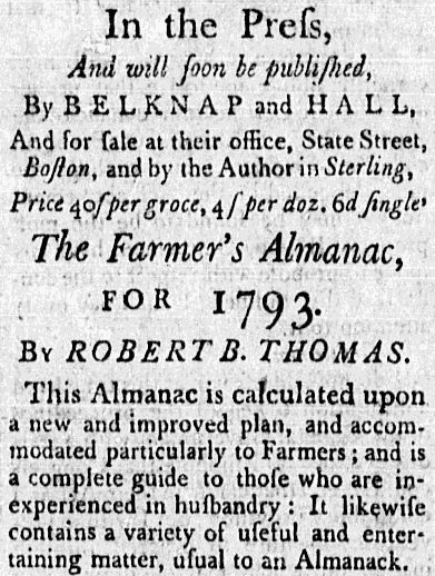 "ad for ""The Farmer's Almanac,"" American Apollo newspaper advertisement 16 November 1792"