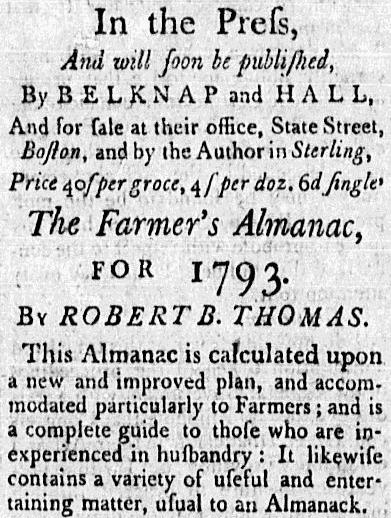 """ad for """"The Farmer's Almanac,"""" American Apollo newspaper advertisement 16 November 1792"""