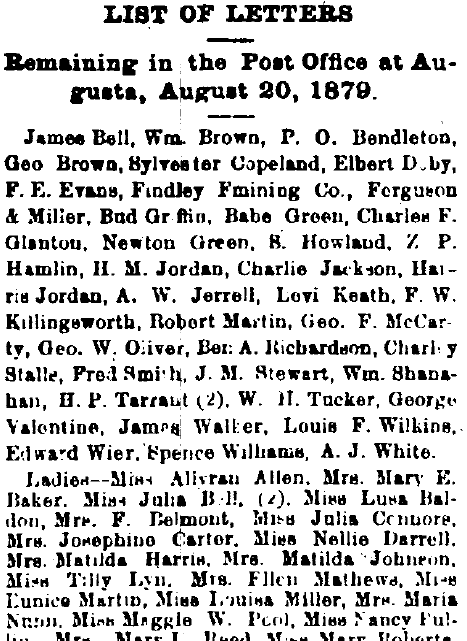 list of people who have mail waiting for them at the Post Office, Augusta Chronicle newspaper article 20 August 1879