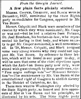 article about Joel Branham, Augusta Chronicle newspaper article 17 September 1840