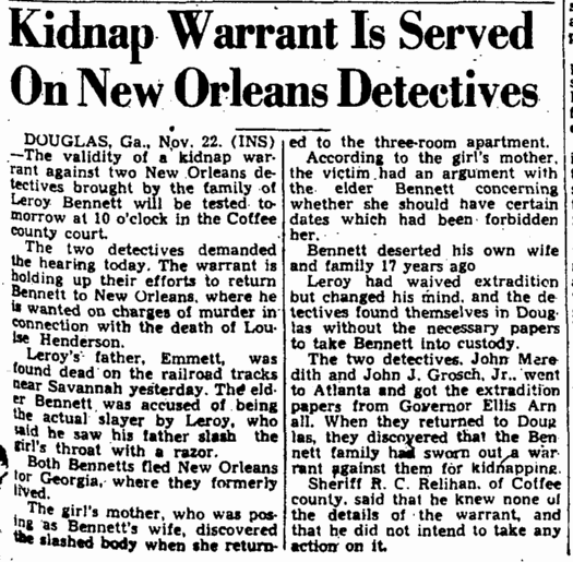 Kidnap Warrant Is Served on New Orleans Detectives Augusta Chronicle newspaper article 23 November 1946
