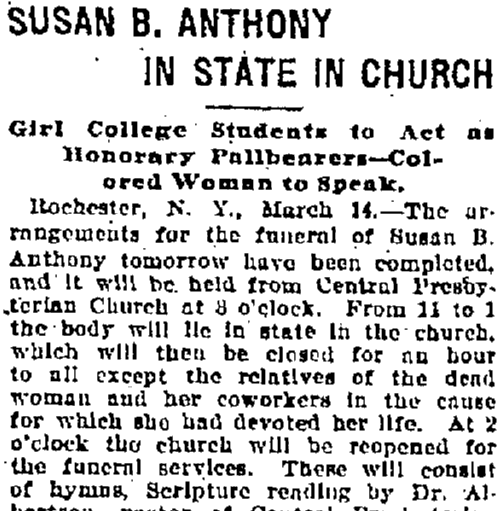 Susan B. Anthony (Lies) in State in Church, Baltimore American newspaper article 15 March 1906