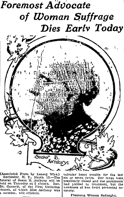 obituary for women's rights advocate Susan B. Anthony, Bellingham Herald newspaper article 13 March 1906