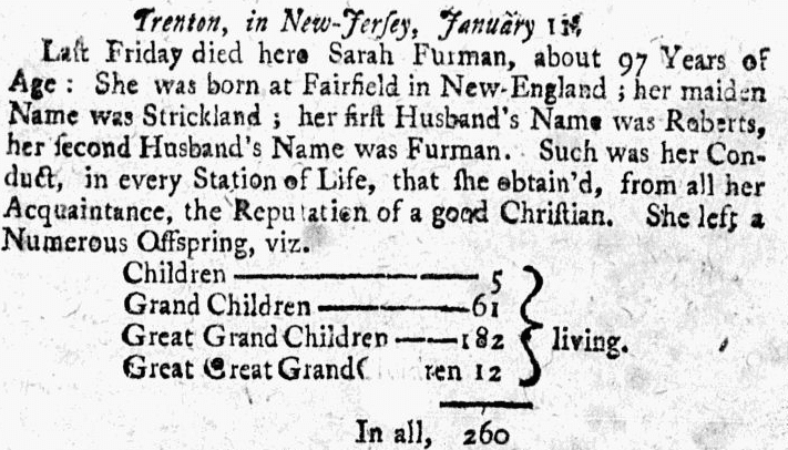 obituary for Sarah Furman, Boston Post-Boy newspaper article 22 February 1742