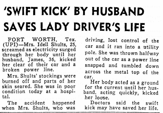 Swift Kick by Husband Saves Lady Driver's (Idell Schults) Life, Boston Record American newspaper article 13 December 1961
