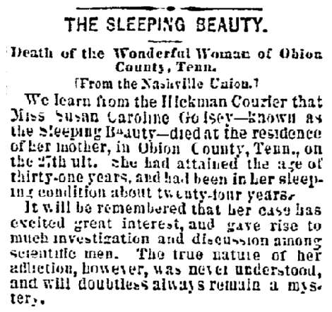 obituary for Susan Caroline Golsey, Cincinnati Daily Enquirer newspaper article 9 November 1873