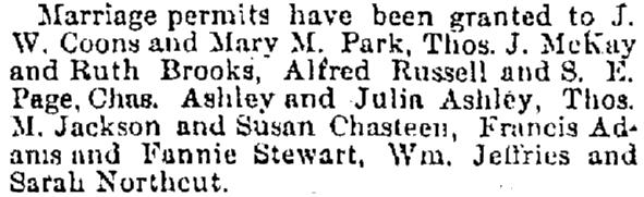 article about marriage permits, Cincinnati Daily Gazette newspaper article 16 July 1878