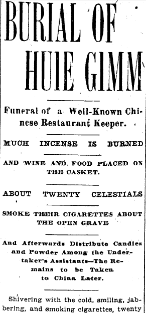 Burial of Huie Gimm 1900 Newspaper Article