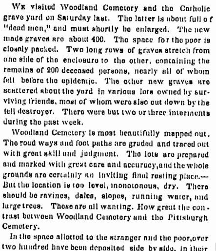 Visit to Woodland Cemetery Cleveland Article Excerpt