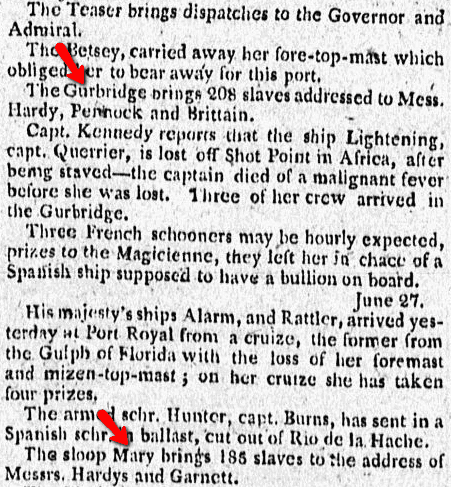 shipping news, Commercial Advertiser newspaper article 31 July 1799
