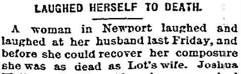 Laughed Herself to Death, Daily Inter Ocean newspaper article 26 December 1878