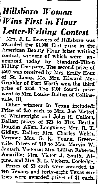 Hillsboro Woman Wins First in Flour Letter-Writing Contest, Dallas Morning News newspaper article 14 January 1938