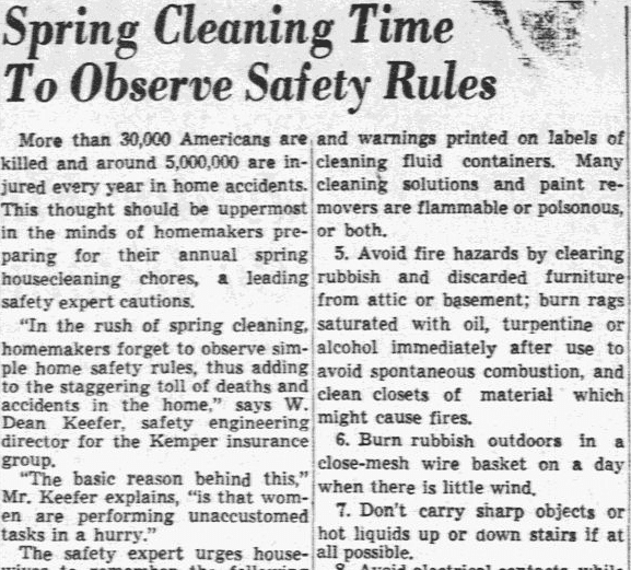 Spring Cleaning Time to Observe Safety Rules, Dallas Morning News newspaper article 19 March 1951