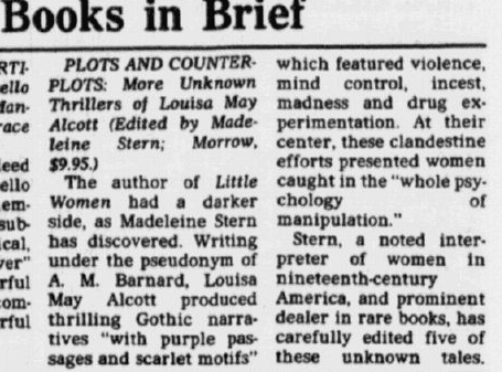 "book review of Louisa May Alcott's book ""Plots and Counter-Plots,"" Dallas Morning News newspaper article 26 September 1976"