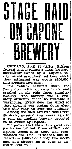 Stage Raid on (Al) Capone Brewery, Evening Tribune newspaper article 11 April 1931