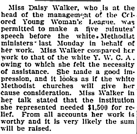 article about Daisy Walker, Freeman newspaper article 20 March 1909