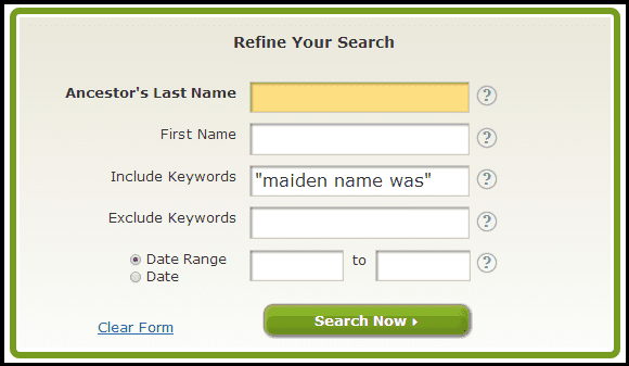 "screenshot of GenealogyBank's search page for keywords ""maiden name was"""