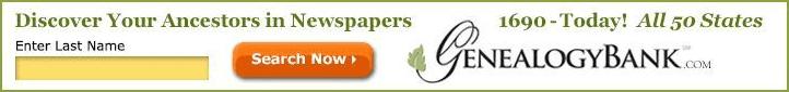 advertising banner linking to GenealogyBank.com