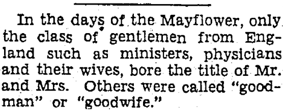 "article about the Puritans' use of the terms ""goodman"" and ""goodwife,"" Heraldo de Brownsville newspaper article 4 July 1937"