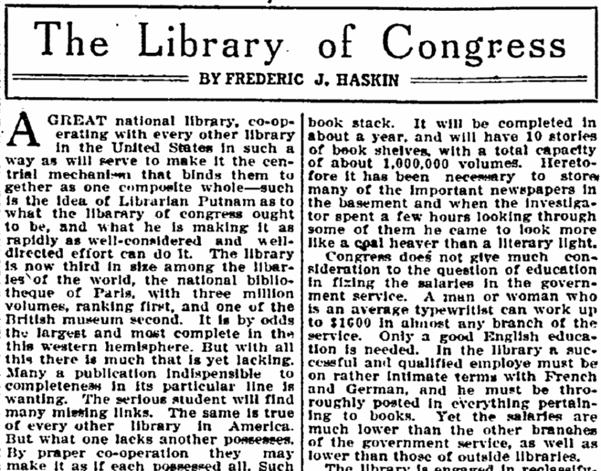 The Library of Congress, Idaho Statesman newspaper article 1 May 1909