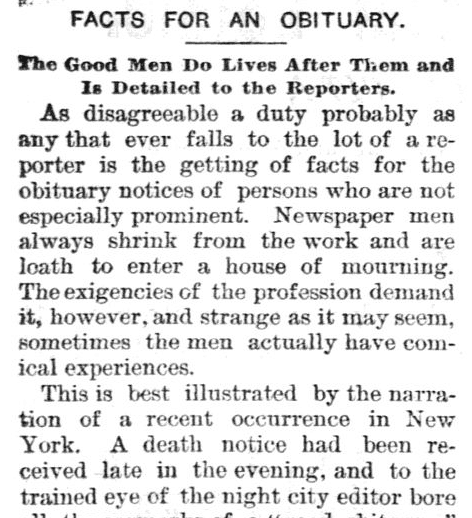 Facts for An Obituary Reporting Newspaper Article