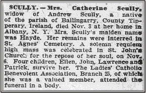 obituary for Catherine Scully, Irish Weekly World newspaper article 2 December 1893