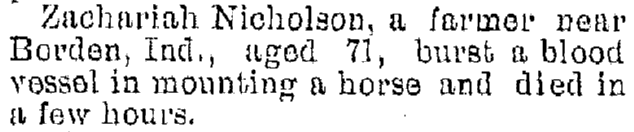 death notice for Zachariah Nicholson, Jackson Citizen Patriot newspaper article 19 January 1895