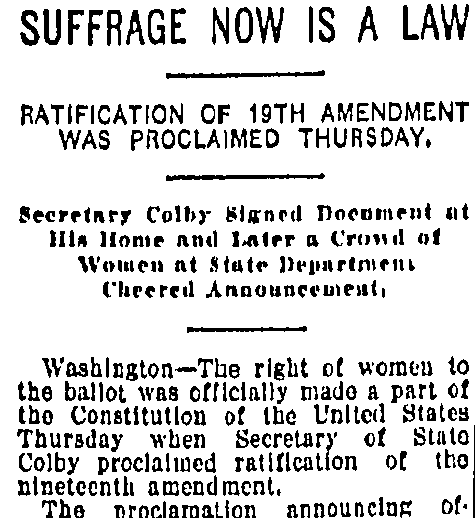 Suffrage Now Is a Law, Kansas City Star newspaper article 1 September 1920