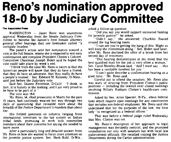 (Janet) Reno's Nomination Approved 18-0 by Judiciary Committee, Marietta Journal newspaper article 11 March 1993