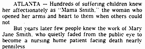 article about Mary Jane Smith, Marietta Journal newspaper article 4 June 1985