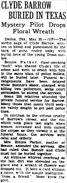 Clyde Barrow Buried in Texas, Morning Star newspaper article 26 May 1934