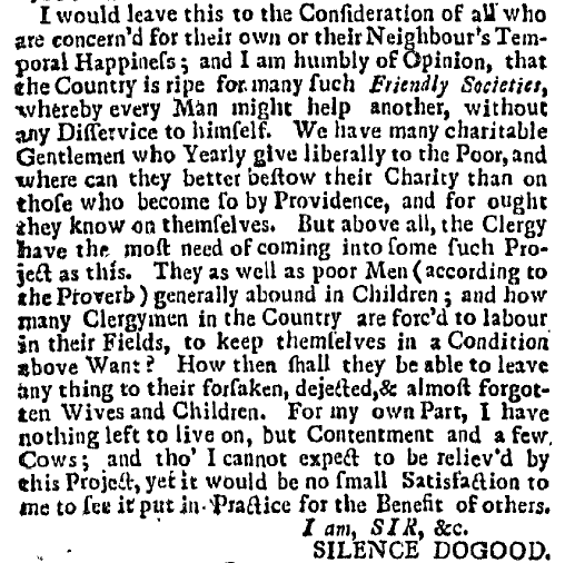 """Mrs. Silence Dogood"" letter written by Benjamin Franklin, New-England Courant newspaper article 13 August 1722"